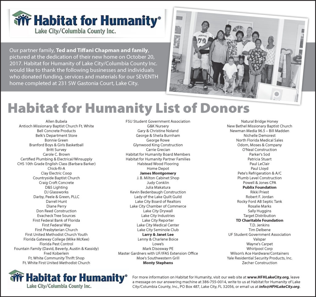 Habitat For Humanity - Lake City Florida - Project 8 Sponsor and Donor List